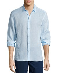 Orlebar Brown Morton Long Sleeve Linen Shirt Sky Blue