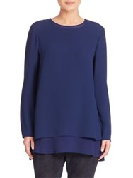 Lafayette 148 New York Silk Double Georgette Reece Blouse Galaxy Blue
