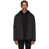 Yves Salomon Black Technical Fur Lined Coat