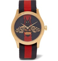 Gucci Gold Tone And Striped Webbing Watch Navy