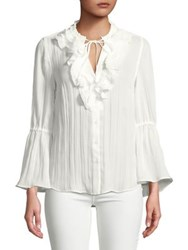 Jones New York Long Sleeve Ruffle Tunic Ivory