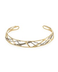 Alexis Bittar Crystal Encrusted Plaid Collar Necklace Yellow Silver