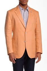 Tailorbyrd Solid Two Button Notch Lapel Linen Sports Jacket Orange