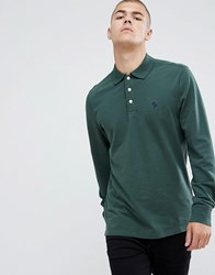 Abercrombie And Fitch Icon Logo Long Sleeve Stretch Pique Polo In Green Olive Green