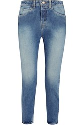 Bassike Cropped High Rise Straight Leg Jeans Light Denim