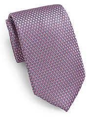 Saks Fifth Avenue Neat Circle Silk Tie Pink