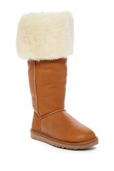 Ugg Devandra Convertible Genuine Shearling Over The Knee Boot Wide Calf Brown