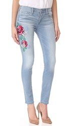 True Religion Halle Mid Rise Embroidered Skinny Jeans Bali Blue