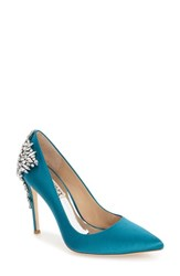 Badgley Mischka Women's 'Gorgeous' Crystal Embellished Pointy Toe Pump Calypso Blue Satin