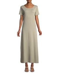 Joan Vass Short Sleeve A Line Long Dress Plus Size Stone