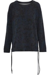 Majestic Filatures Lace Up Printed French Terry Sweatshirt Midnight Blue
