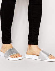 Slydes Metallic Slider Flip Flops Grey