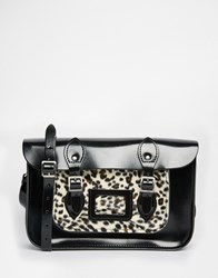 The Leather Satchel Company 12.5 Satchel With Leopard Pocket Black