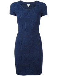 Kenzo Flyer Textured Bodycon Dress Blue