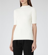 Reiss Evangelina Womens High Neck Knitted Top In White