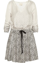 Band Of Outsiders Degrade Leopard Print Silk Twill Mini Dress White