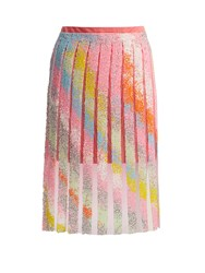Germanier Bead Embellished Tulle And Jersey Mini Skirt Multi
