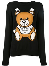 Moschino Paper Toy Bear Intarsia Jumper Black