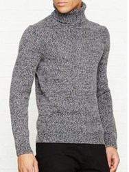 Reiss Ziggy Twisted Yarn Roll Neck Jumper Charcoal