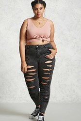 Forever 21 Plus Size Acid Wash Jeans Charcoal