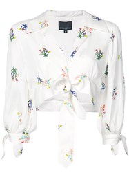 Cynthia Rowley Tied Up Cropped Blouse White