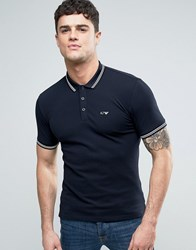 Armani Jeans Slim Fit Pique Polo Tipped Logo In Navy Blu Notte Blue