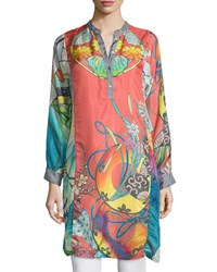 Johnny Was Yokina Long Sleeve Printed Silk Slip Dress