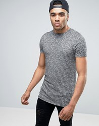 Asos Muscle Longline T Shirt In Charcoal Heavy Rib Charcoal Grey