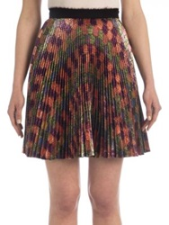 Marco De Vincenzo Pleated Lurex Mini Skirt Multi
