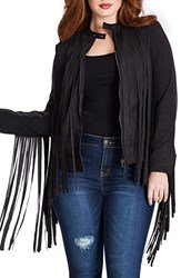 Plus Size Women's Mynt 1792 Fringe Faux Suede Moto Jacket Black