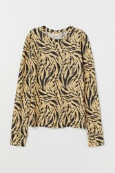 Handm H M Patterned Jersey Top Yellow