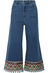 Alice Olivia Beta Cropped Embroidered High Rise Wide Leg Jeans Blue