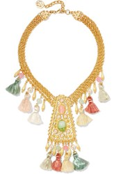 Ben Amun Gold Plated Faux Pearl Bead Stone And Tassel Necklace One Size