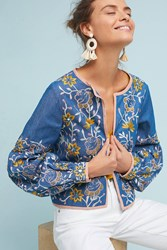 Misa Los Angeles Embroidered Chambray Jacket Sky