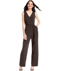 Ny Collection Petite Surplice Belted Wide Leg Jumpsuit Java