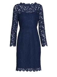 Gina Bacconi Lace Dress With Jewel Flower Buttons Navy