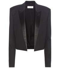 Saint Laurent Cropped Wool Crepe Blazer Black