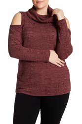 Socialite Cold Shoulder Cowl Neck Sweater Plus Size Red