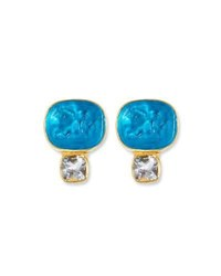 Dina Mackney Italian Crystal And Topaz Stud Earrings Blue White