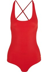 Tomas Maier Lace Up Swimsuit Red