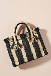Anthropologie George Striped Small Tote Bag Black