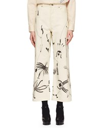 Dries Van Noten Pisco Wide Leg Cropped Sun Catcher Printed Jeans Ecru005