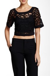 Bcbgeneration Cropped Lace Blouse Black