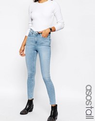 Asos Tall Ridley High Waist Skinny Jeans In Carnation Light Stone Wash Light Stone Wash