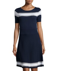 Catherine Catherine Malandrino Leslie Striped Short Sleeve Dress Navy White