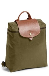 Longchamp 'Le Pliage' Backpack Brown New Khaki
