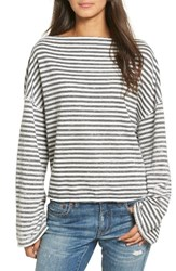 Treasure And Bond Women's Slouchy Fleece Pullover Navy India Ink Sara Stripe