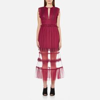 Three Floor Women's Zen Semi Sheer Midi Dress Damson Plum Pink