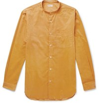 Camoshita Grandad Collar Cotton Corduroy Shirt Yellow