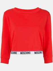 Moschino Cropped Sweatshirt Red